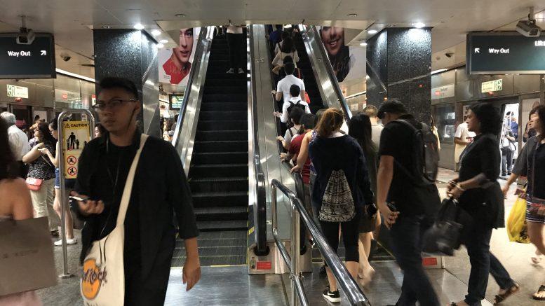 Escalators at Singapore Orchard MRT station