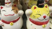 Ceramic cats at retailer Daiso
