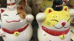 Ceramic cats at retailer Daiso