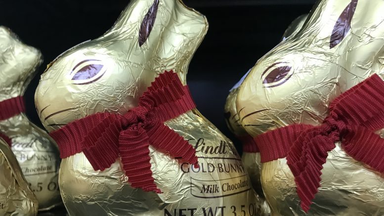 Chocolate Easter bunnies by Lindt