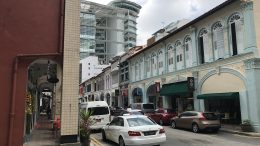 Singapore's National Libary and shophouses