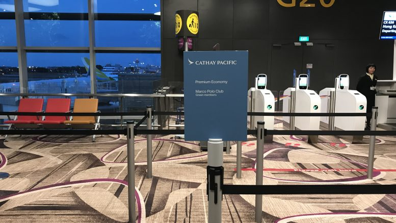 Cathay Pacific departure gate at Singapore's Changi Airport