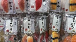 Plastic sushi keychains at Japan-based Daiso