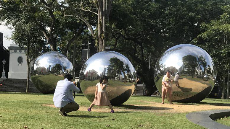 Sculpture display outside Singapore's Asian Civilisations Museum