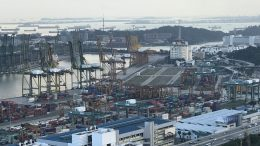 An aerial view of Singapore's port