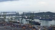 Singapore port and Sentosa island