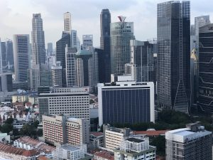 The skyline in Singapore's central business district.