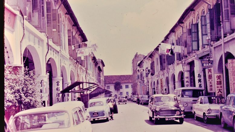 Singapore street scene in 1968; unknown location. Photo taken by Leonard Shaffer.