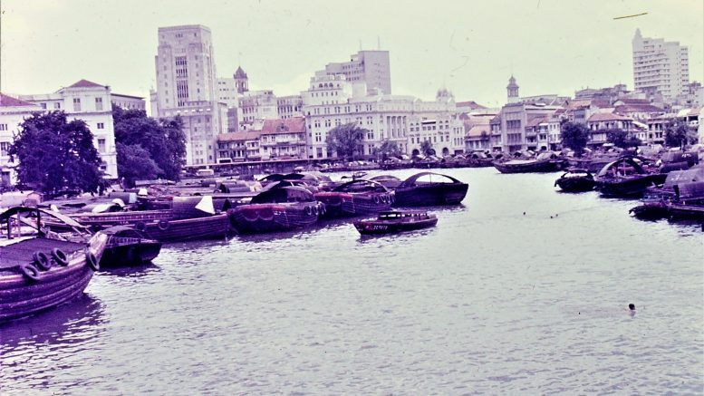Singapore's Boat Quay in 1968; photo taken by Leonard Shaffer.