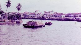 Singapore waterfront scene in 1968; photo taken by Leonard Shaffer.