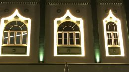 Windows of a mosque in Singapore's Geylang neighbourhood; taken August 2018.