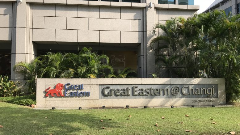 Great Eastern building at Changi in Singapore; taken August 2018.