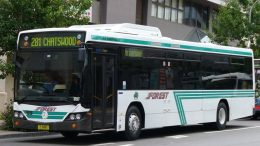 A bus from the Forest Coach Lines, which operates in Northern Sydney and regional New South Wales, in Australia. Photo provided by ComfortDelGro.