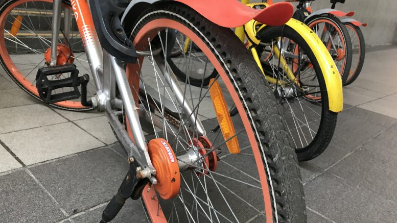 Rubber bicycle tyres; taken September 2018.