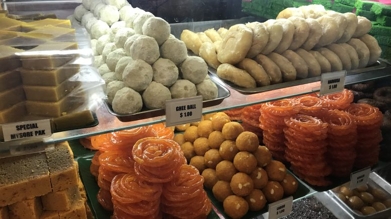 Indian sweets in Little India in Singapore; taken July 2018.