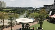 View from Waterway Point mall, by Frasers Property, at Punggol New Town in Singapore; taken August 2018.