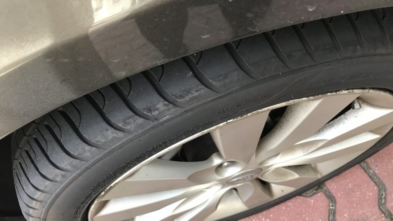 Rubber car tyre; taken September 2018