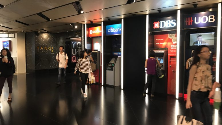 OCBC, DBS, UOB and Citibank ATMs at Tang Plaza in Singapore; taken September 2018.