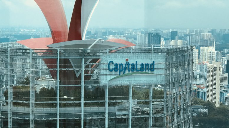 Top of the CapitaLand building in Singapore's central business district (CBD); taken September 2018.