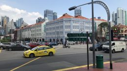 Singapore street scene, including taxi, in Chinatown area at Eu Tong Sen Street; taken September 2018.
