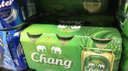 Cans of Chang beer at a Singapore supermarket; taken September 2018. The Chang brand is owned, brewed and distributed by Thai Beverage.