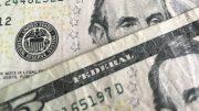 U.S. five dollar currency notes bills; taken September 2018.