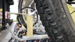 Rubber bicycle tyre at bike rack in Singapore's Paya Lebar neighborhood; taken September 2018.
