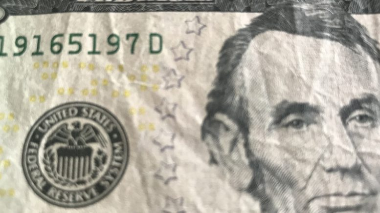 U.S. five dollar currency note; taken September 2018.