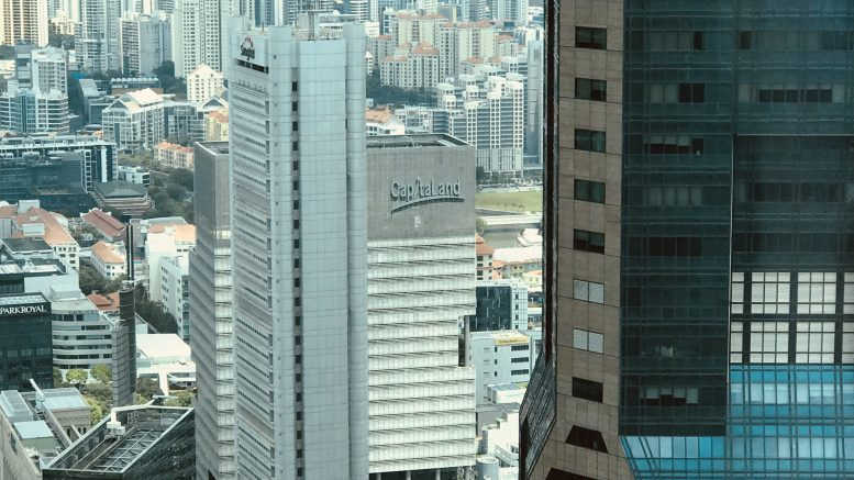 Singapore's central business district (CBD) with CapitaLand and Singtel buildings; taken September 2018.