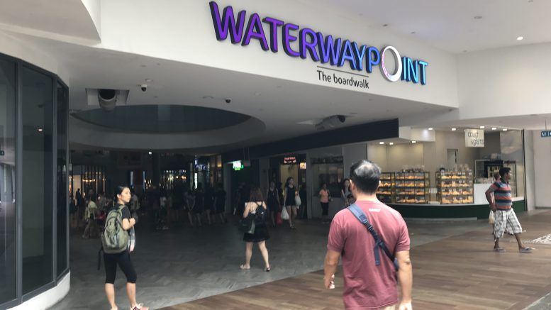 Waterway Point mall, by Frasers Property, at Punggol New Town in Singapore; taken August 2018.