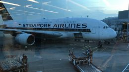 Singapore Airlines aircraft taken from terminal windows in August 2018.