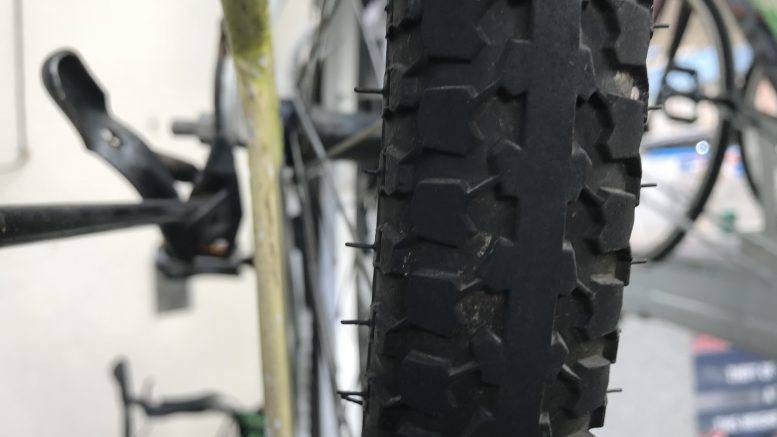 Rubber bicycle tyre; taken September 2018.