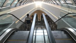 Singapore subway MRT escalator at One North; taken August 2018.