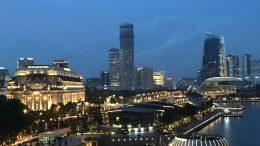 Singapore's Marina Bay Area, including Esplanade and Fullerton, at night; taken July 2018.