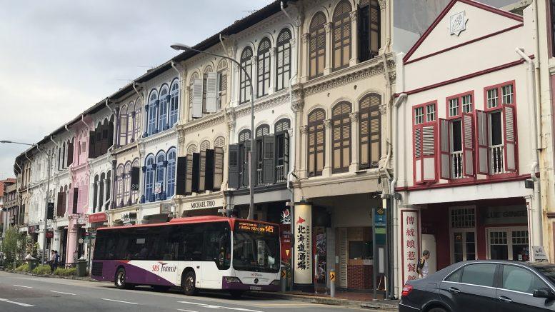 Singapore street scene in Tanjong Pagar neighborhood; taken 31 August 2018.