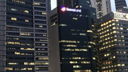 GuocoLand, HSBC and Bank of China buildings at dusk in Singapore; taken August 2018.