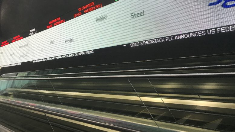 SGX ticker at Shenton Way building in Singapore; taken October 2018.