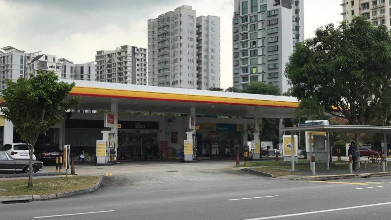 A Shell petrol station in Singapore's Tanjong Katong area; taken October 2018.