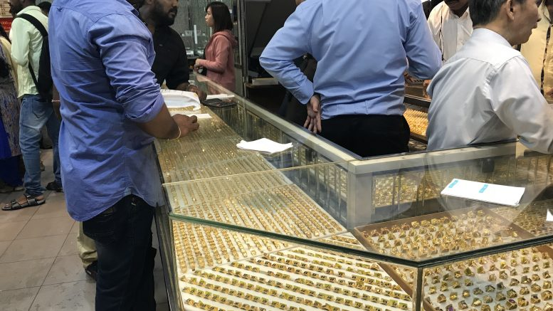 Retail gold jewelery counter in Singapore's Little India neighborhood; taken October 2018.
