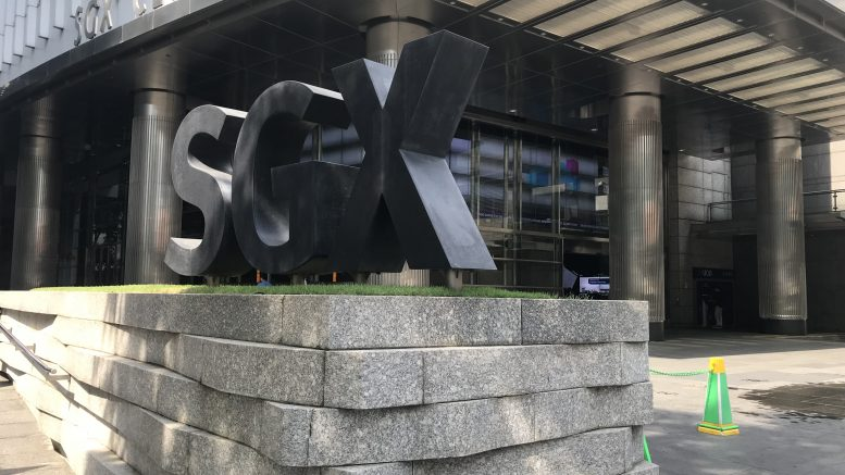 Signage at the SGX building on Shenton Way in Singapore; taken October 2018.