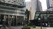 Singapore's Raffles Place area with Ascott building; taken October 2018.