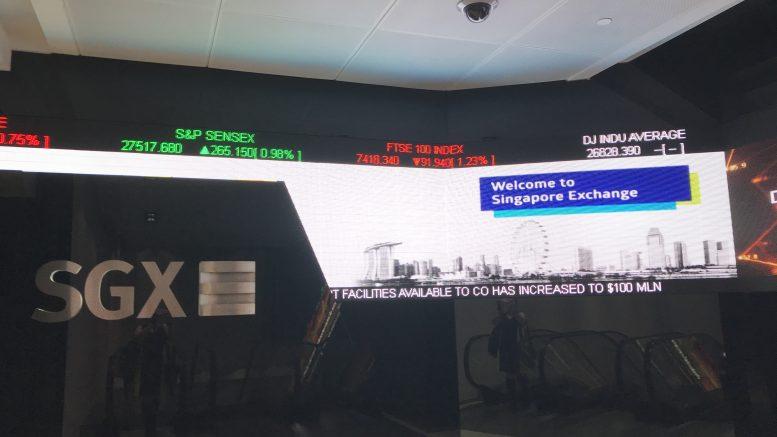 SGX ticker at Shenton Way building in Singapore; taken October 2018.