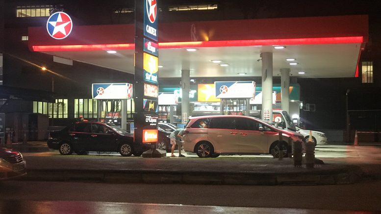 Caltex petrol station, night scene; taken October 2018.