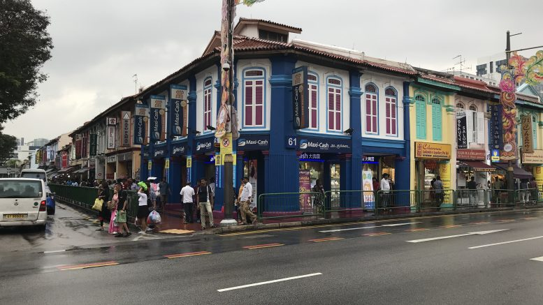 Maxi-Cash outlet in Singapore's Little India neighborhood; taken October 2018.