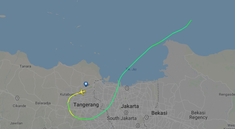 Lion Air Flight JT610 reportedly crashed shortly after takeoff from Jakarta. This image is from FlightRadar24's map of the flight.