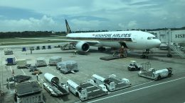 Singapore Airlines plane on the ground at Singapore's Changi Airport; taken November 2018.
