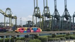 Singapore's port with the monorail to Sentosa island.