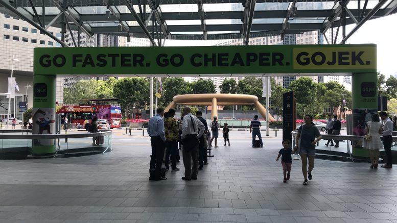 GoJek advertising at Suntec Mall
