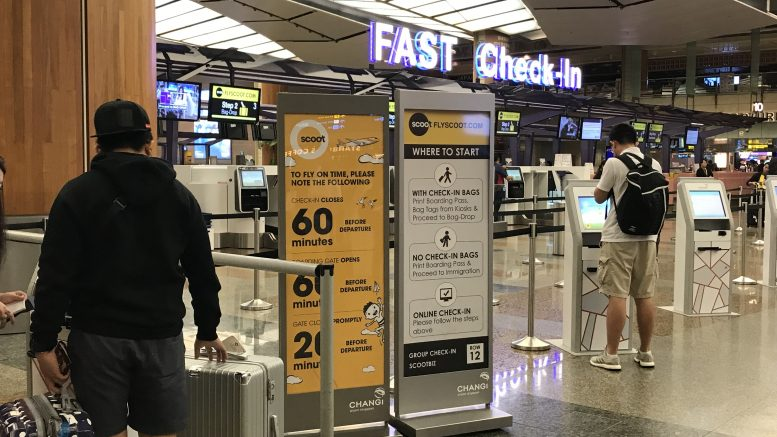 Scoot check-in counter at Singapore's Changi Airport
