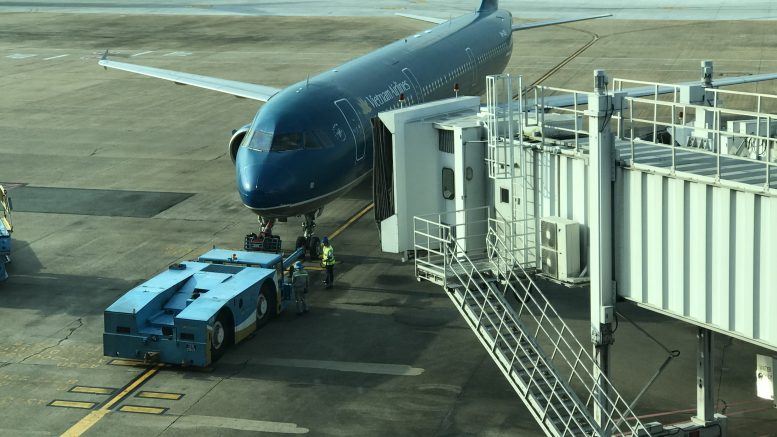 Vietnam Airlines plane on tarmac at Ho Chi Minh City airport